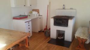 The kitchen part in the cottage at Boholmsviken